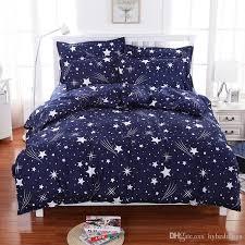 meteor shower stars blue bedding set soft polyester duvet cover