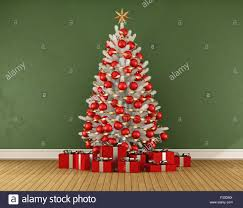 green room with white christmas tree with red decoration 3d