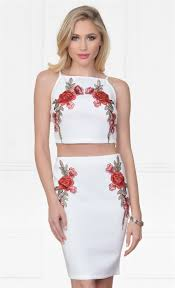 indie xo floral frenzy white red rose floral high waist bodycon