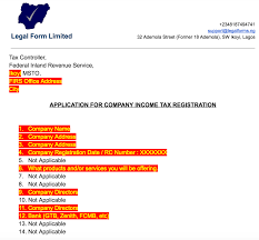 tin application letter with firs nigeria legal forms