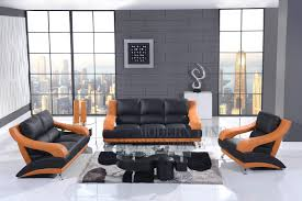modern orange leather sofa set for living room couch sectional
