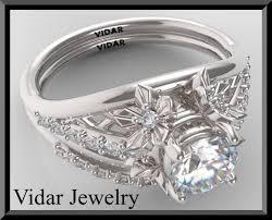 engagement rings flower design flowers wedding ring set unique gold flower design
