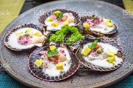 peruvian cuisine fresh scallops peruvian cuisine style stock photo more