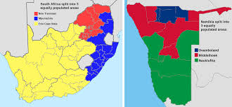 Population Map Of Africa by South Africa And Namibia Split Into 3 Areas Of Equal Population