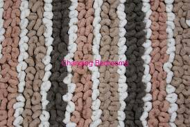 Loop Bath Rug Changingbedrooms Multi Brown Stripe 100 Cotton Heavy Shaggy
