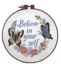 learn a craftbelieve in yourself crewel embroidery kit 6 x6 joann