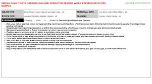 Machine Operator Resume Sample by Gear Tooth Grinding Machine Operator Resume Sample