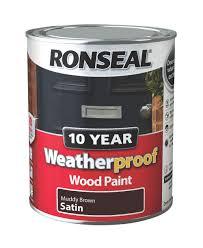 ronseal muddy brown satin wood paint 750ml departments diy at b u0026q