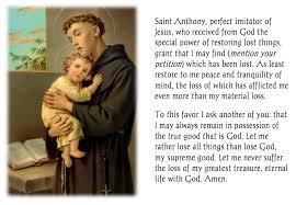 prayer to st anthony for a missing item catholic faith