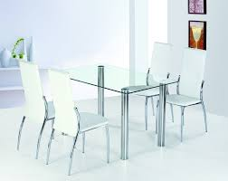 Leather Dining Chair With Chrome Legs Dining Room Fair Dining Room Decoration With Rectangular Glass