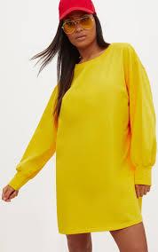 yellow sweater dress yellow oversized sweater dress dresses prettylittlething usa