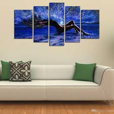 2018 5 Panels y Girl Abstract Canvas Wall Art Women Naked