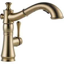 Polished Brass Kitchen Faucet by Delta Cassidy Single Handle Pull Out Sprayer Kitchen Faucet In