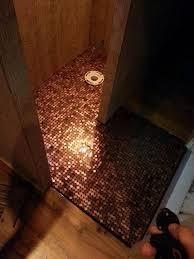 Bathroom Floor Pennies Married Couple Build Tiny Home