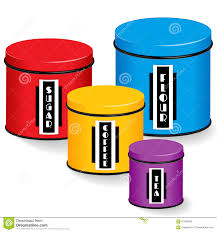 kitchen canisters with art deco labels stock vector image 61486293