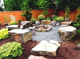 backyard with beautiful river natural rock landscaping ideas rocks