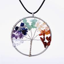 stone pendant leather necklace images Wisdom tree necklaces chakra opal beaded natural stone pendant jpg