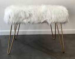 bench order faux fur bench with hairpin legs