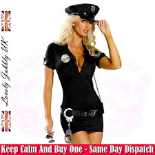 cop halloween costume ladies black police woman womens officer fancy dress