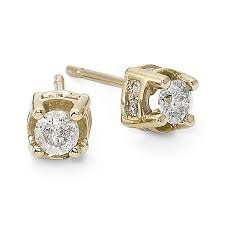 gold diamond stud earrings 1 2 ct t w diamond stud earrings 10k yellow gold jcpenney