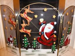 fireguard medium 49cm santa reindeer fire guard fireplace