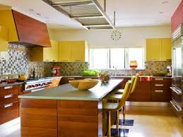 Backsplash For Yellow Kitchen Kitchen Playful Yellow Kitchen Idea With Colorful Tile