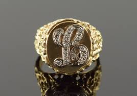 Monogram Gold Ring 14k 0 15 Ctw Diamond U0027l U0027 Nugget Monogram Letter Initial Yellow