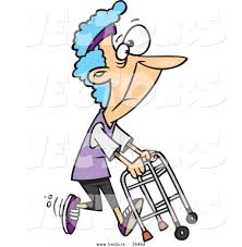 Grandma In Rocking Chair Clipart Vector Of A Healthy Cartoon Granny Running With A Walker By