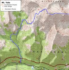 Bent Creek Trail Map 14ers Com U2022 Mt Yale Route Description Southwest Slopes
