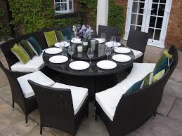 outdoor patio table seats 10 large round dining table benches and chairs rattan garden furniture