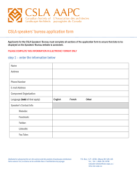 canadian speakers bureau csla speakers bureau application form