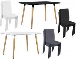 table avec 4 chaises en casa table à manger modèrne table de cuisine 120x70cm avec 4