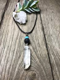 leather necklace turquoise stone images Aromatherapy lava stone jewelry crystal long pendant with lava jpg