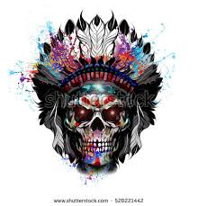 handdrawn indian skull illustration stock illustration 520221442