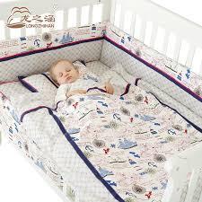 Crib Bedding Sets Unisex 7pcs Baby Bedding Set Cotton Newborn Baby Bumper Crib Bed