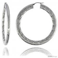 surgical steel hoop earrings surgical steel flat hoop earrings 2 1 2 in 4 mm wide