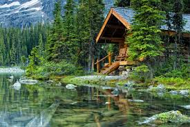 lakes lake cabin emerald wooden summer nature trees greenery