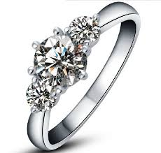 marriage ring amazing three stones 3 2ct brilliant synthetic diamonds