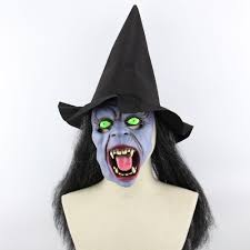 halloween witch printed mask cap with wig in black sammydress com