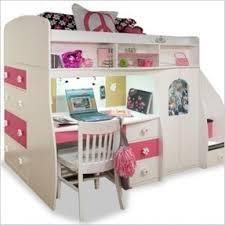 girls white loft bed with desk open travel
