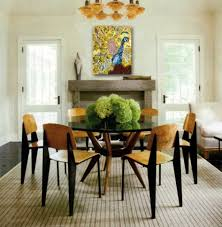 dining room beautiful glass vase of roses for dining table green plant centerpiece on round glass dining table with wooden dining chairs large size