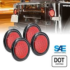 trailer tail lights for sale on sale 4pc ols 4 inch round led trailer tail lights 24 red led