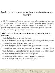 Sample Resume Objectives For Dietitian by Top8marksandspencercustomerassistantresumesamples 150706165854 Lva1 App6891 Thumbnail 4 Jpg Cb U003d1436201992