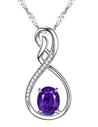 mothers birthstone jewelry mothers day amethyst gemstone pendant necklace february