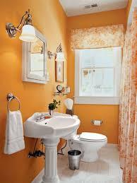 bathroom cheap ideas decorate small orange orange small bathoom decoration white ceramic pedestal sink with mirror framed top stainless steel ring