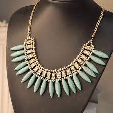 boho bib necklace images Fashion women crystal pendant chain choker chunky statement bib jpg