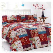 just contempo oriental patchwork duvet cover king red amazon co