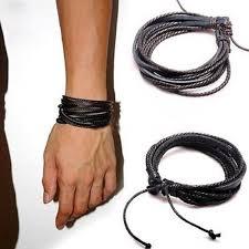 man black leather bracelet images Male leather bracelets bangles for men black brown braided rope jpg