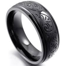 black steel rings images Mendino men 39 s women 39 s stainless steel ring engraved florentine jpg