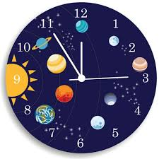 Solar System WALL CLOCK Kids Bedroom Personalized Nursery Wall - Hanging solar system for kids room